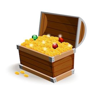 Scatola aperta in legno piena di monete d'oro e gioielli