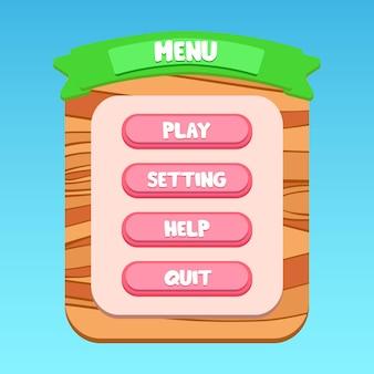 Pannello del menu a comparsa dell'interfaccia utente dell'applicazione mobile con motivi in legno verde scritto cartone animato premium vector