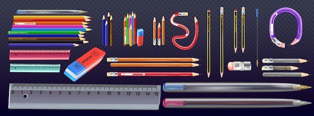 Matita in legno con gomma. strumento di scuola. set di matite colorate