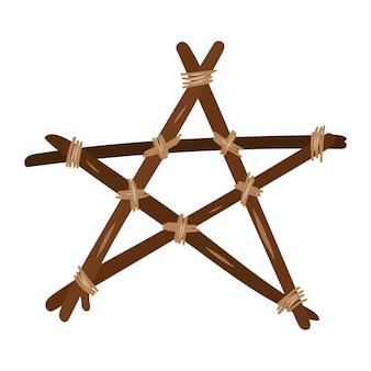 Pentagramma in legno. elemento di design esoterico e mistico. illustrazione disegnata a mano di vettore.