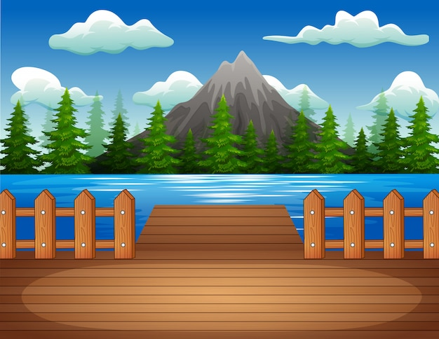 Molo di legno con vista sul lago e sulla montagna