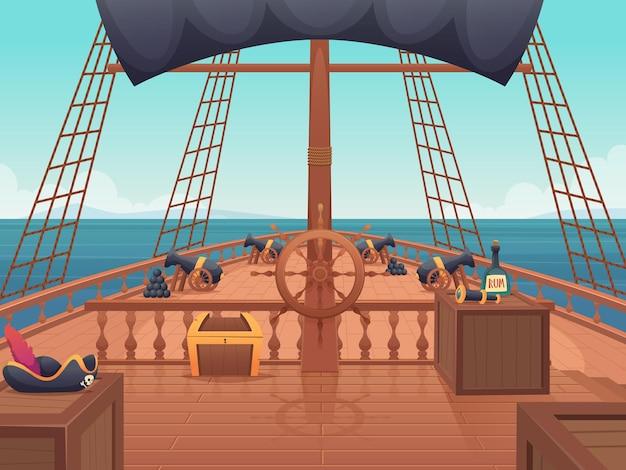 Nave pirata in legno. capitano ponte con il volante dell'annata scheda di spedizione vettore del fumetto. barca a vela in legno, trasporto di navigazione, nave con ponti in legno