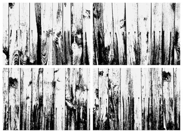 Insieme di struttura di legno della plancia. trama in bianco e nero. texture sovrapposta di metallo arrugginito.
