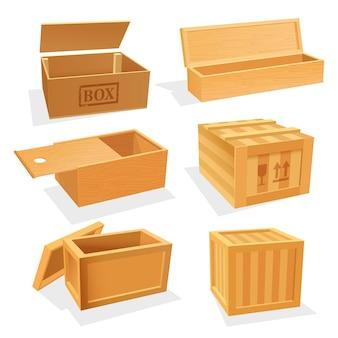 Scatole o casse in legno e compensato, contenitori isometrici vuoti. pacchetto di stoccaggio e spedizione con coperchio aperto e scorrevole. tema di consegna e risparmio delle merci