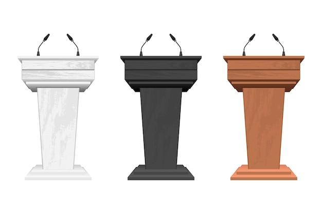 Tribuna del podio in legno con microfoni isolati su bianco
