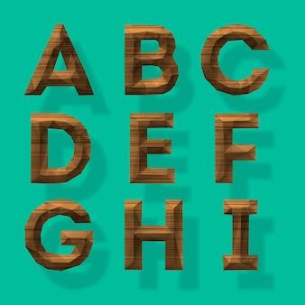 Alfabeto poligonale in legno parte 1 illustrazione vettoriale