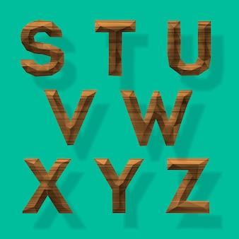 Alfabeto poligonale in legno parte 3 illustrazione vettoriale
