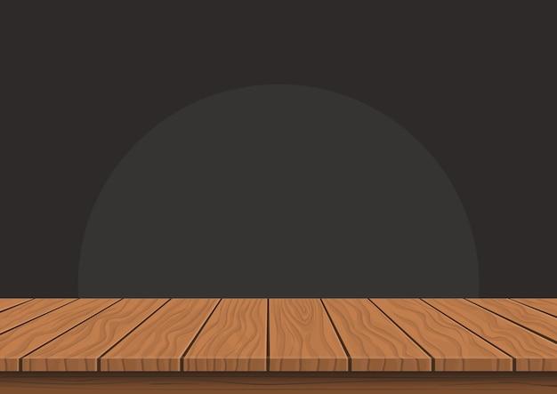 Piano di presentazione in legno su sfondo scuro, tavolo di visualizzazione del prodotto vuoto con spazio vuoto.