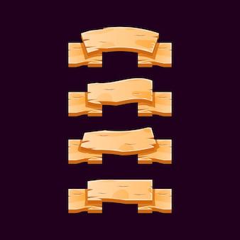 Design di banner a nastro in legno perfetto per elementi di asset dell'interfaccia utente di gioco