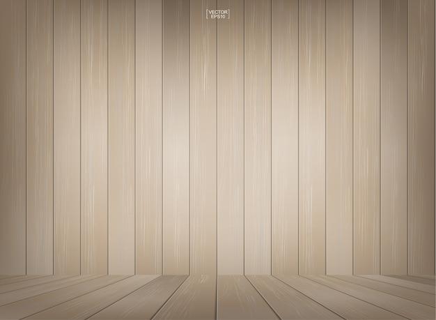Sfondo spazio stanza in legno con pavimento in legno prospettiva