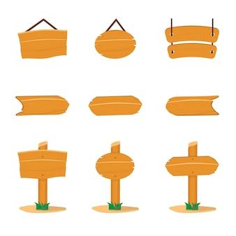 Set di illustrazioni piatte di insegne in legno, pacchetto di cartelli pubblicitari vecchio stile, banner di promozione in bianco del villaggio, cartellone rustico per annuncio, guida o messaggio di avvertimento