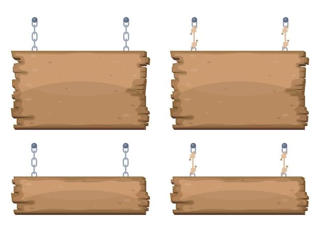 Insegne in legno appese a catena e corda