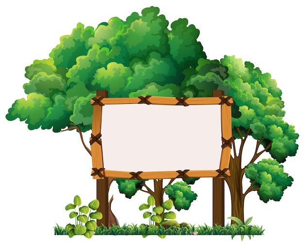 Cartello in legno nella foresta
