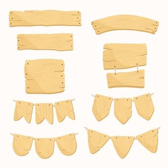 Set di cartelli in legno vettore premium