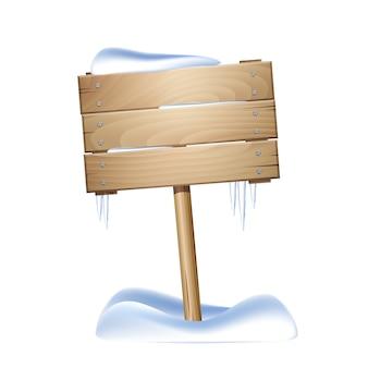 Cartello in legno nella neve isolato su sfondo bianco.