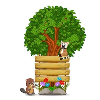 Modello di cartello in legno con lemure e castoro
