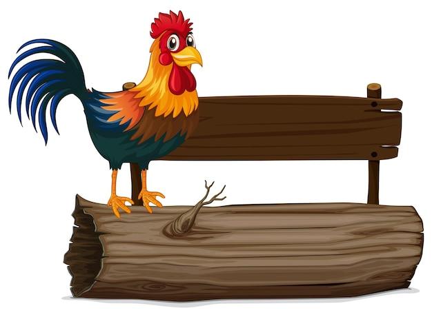 Cartello in legno con gallo