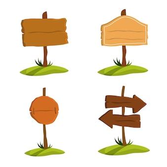 Set di cartello in legno. raccolta di vari segni