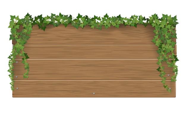 Cartello in legno ricoperto di bastoncini d'edera. il modello con uno spazio vuoto per il testo.