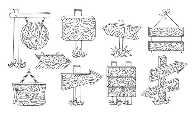 Set di linee di doodle per cartelloni pubblicitari in legno, raccolta di puntatori a freccia rurali arrow