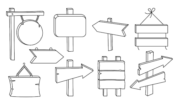Set di linee nere per cartelloni vuoti in legno. collezione di puntatori a freccia rurali