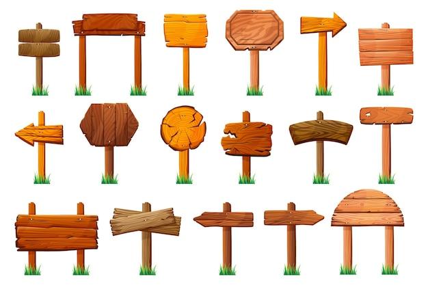 Segni di legno in piedi su pilastri a erba verde insieme isolato insegne di legno di vettore direzione delle frecce