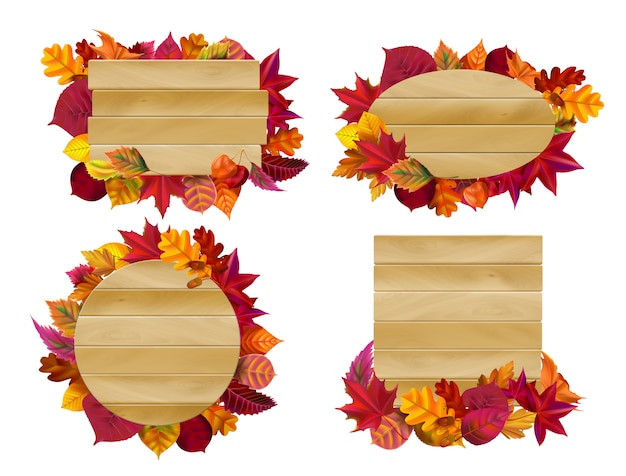 Cartelli in legno con foglie d'autunno. foglia gialla di caduta, insieme di legno stagionale dell'illustrazione dell'insegna