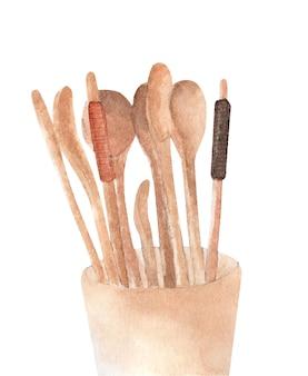 Cucchiai, forchetta e bacchette di legno. acquerello.