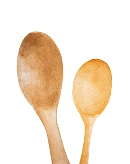 Cucchiai di legno su bianco. illustrazione dell'acquerello.