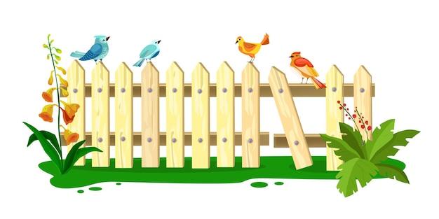 Illustrazione di recinzione di primavera in legno, picchetto con uccelli seduti, erba, fiori, foglie verdi, isolati su bianco.