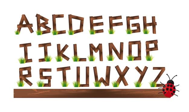 Alfabeto di pile di legno