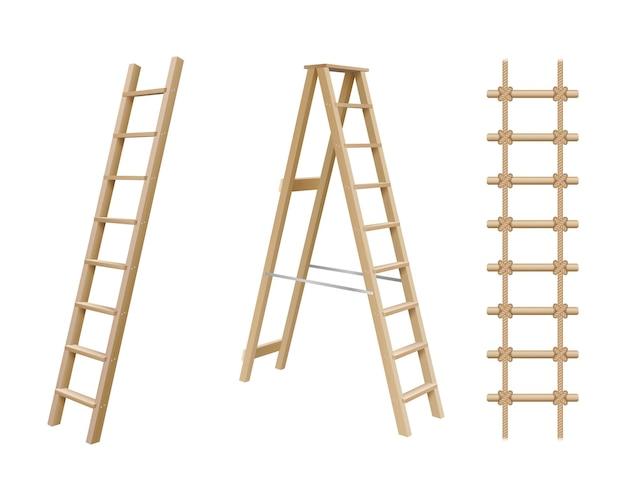 Set realistico di scale in legno, scala a pioli e scala di corda