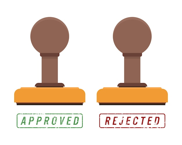 Stampo in legno e marchio di timbro con testo approvato e rifiutato