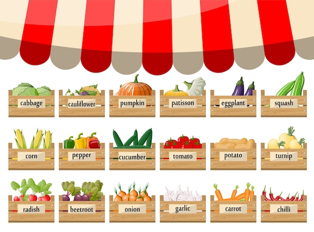 Scatole da supermercato in legno con verdure. bancarella con tenda da sole.