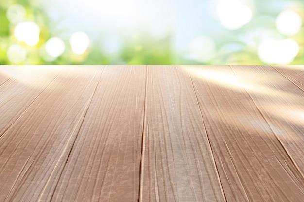 Piano del tavolo in legno con sfondo del parco naturale glitter bokeh in illustrazione 3d