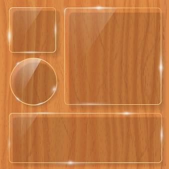 Struttura in legno con cornice in vetro. illustrazione