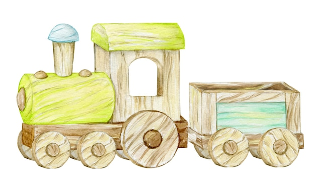 Trenino in legno su sfondo bianco. clipart ad acquerello in stile cartone animato, per inviti e cartoline per bambini.