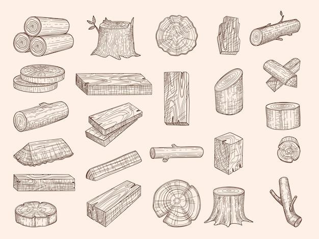 Bauli in legno. legname disegnato vintage impilati in legno di quercia vecchie piante tagliere insieme di schizzo di vettore