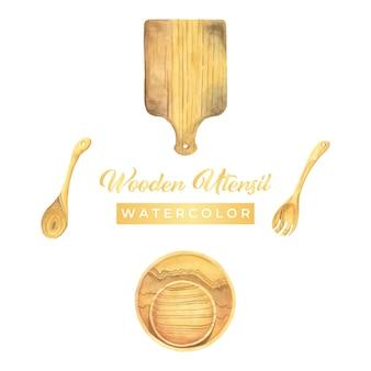 Illustrazione di disegno dell'acquerello dell'utensile in legno
