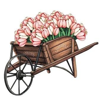 Carriola in legno piena di tulipani