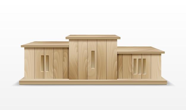 Podio dei vincitori in legno. illustrazione di un podio vincitore del premio, realizzato in legno, per il successo aziendale e il podio della ricchezza.
