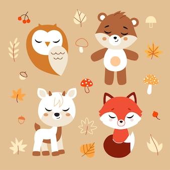 Animali del bosco ed elementi di arredo insieme. illustrazione.