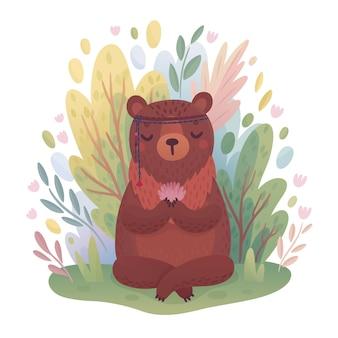 Woodland boho personaggio simpatico orso meditando seduto nella foresta