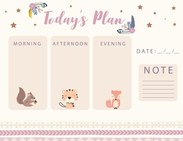 Pianificatore di calendario boschivo con fiore piuma di volpe