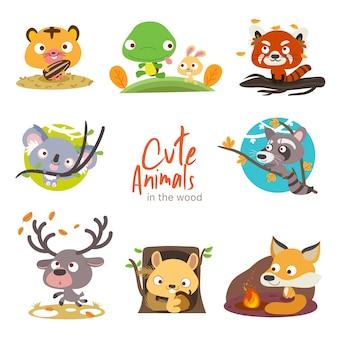 Woodland cute animals