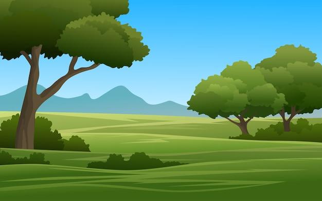 Illustrazione del terreno boscoso con la montagna