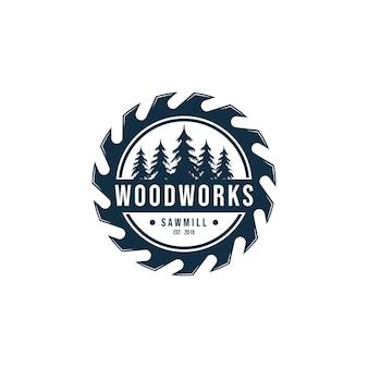 Elemento di vettore del modello di progettazione di logo dell'ingranaggio di falegnameria isolato