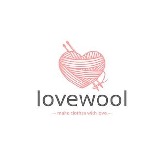 Modello di logo di amore di lana
