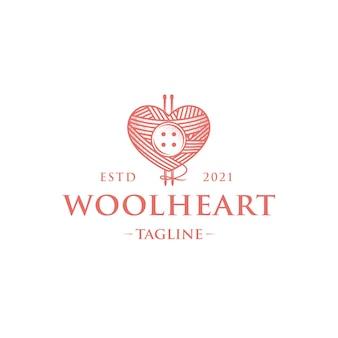 Modello di logo vintage di lana amore