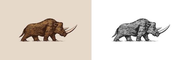 Rinoceronte lanoso animale estinto era glaciale vintage retrò illustrazione vettoriale stile doodle disegnato a mano